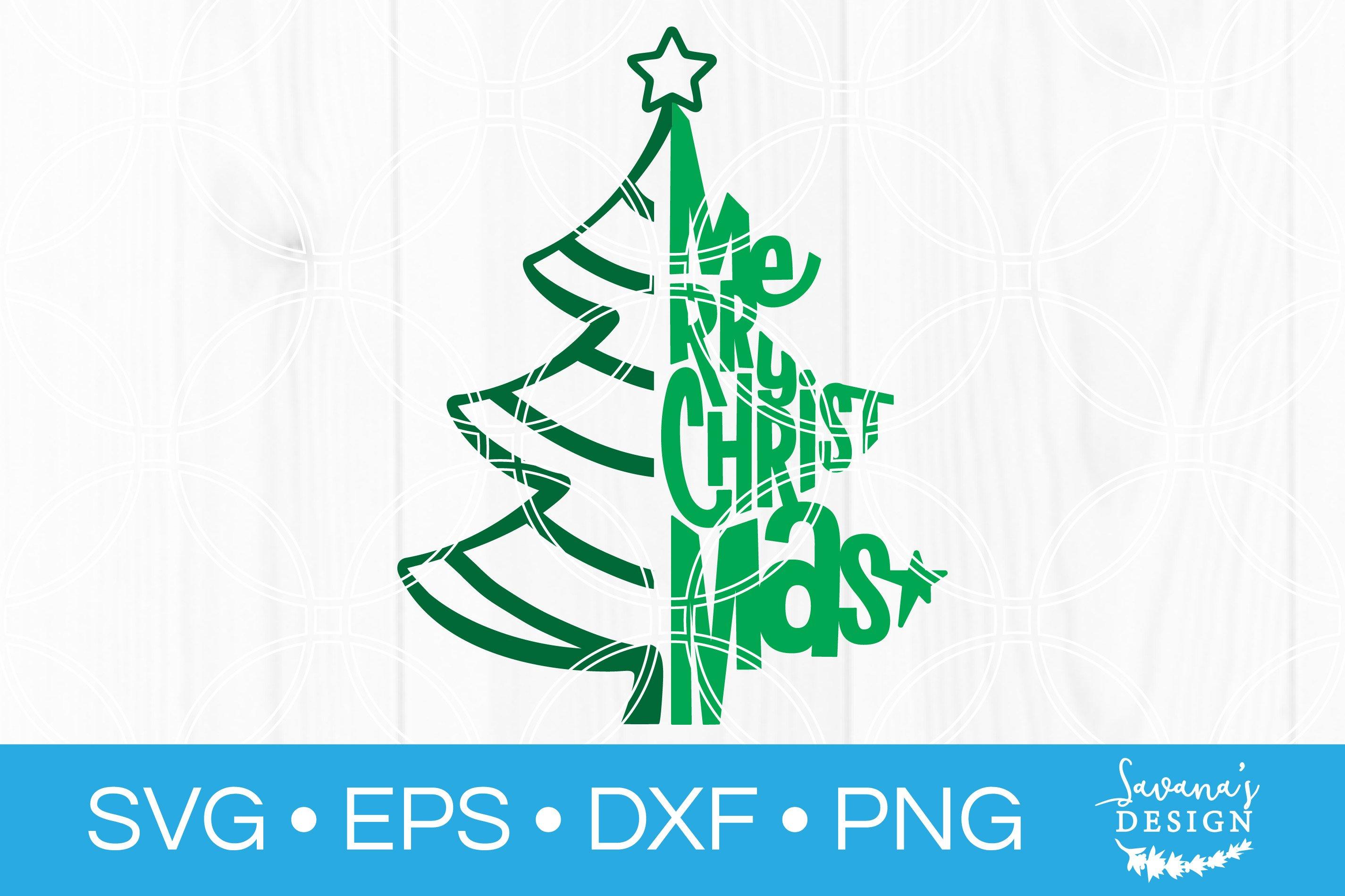 Merry Christmas Tree Svg Cut File Pre Designed Photoshop Graphics Creative Market