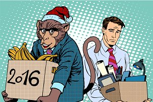 Santa Claus monkey 2016 new year