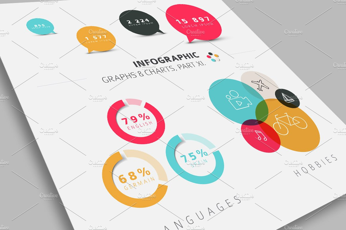 flat infographic graphs & charts ~ graphic objects ~ creative market
