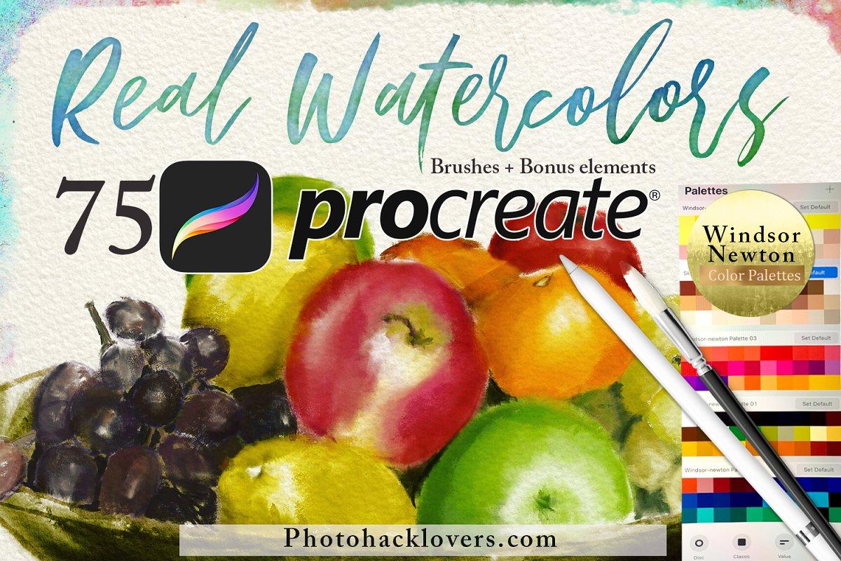 75 Procreate Watercolor Brush Bundle