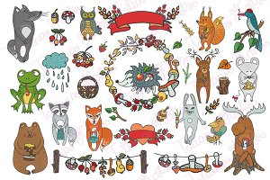 Doodle Wild animals,autumn decor