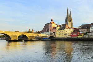 Regensburg at sunset, Germany.