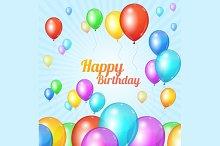 Color Happy birthday card. Balloons