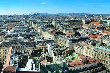 Vienna cityscape at sunshine day