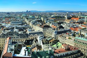 Vienna cityscape at sunshine day