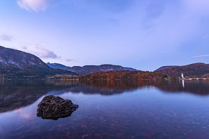 Evening scene at lake Bohinj