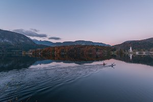 Evening view of lake bohinj
