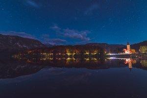 Dark lights reflections at the lake