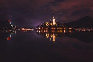 Dark reflections at lake Bled