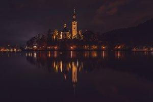 Church at Bled island at night