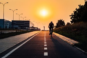 Bicycle path during sunset