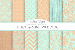 Peach and Mint Wedding Papers