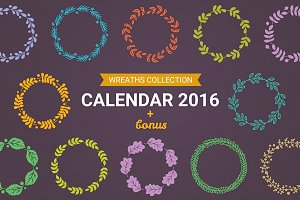 Calendar 2016 with Wreaths