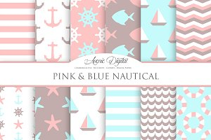 Pink and Blue Nautical Papers