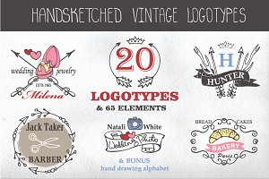 Hand drawing logo bundle.Vintage