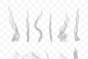 Set of 10 vector transparent smoke