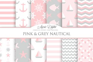 Pink and Gray Nautical Digital Paper