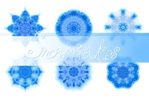Set of 29 watercolor snowflakes