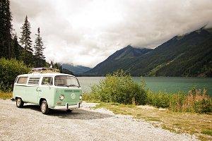 Vintage VW Bus in Canadian Rockies