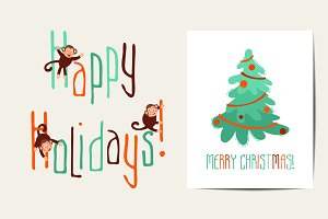 Vector holiday cards collection