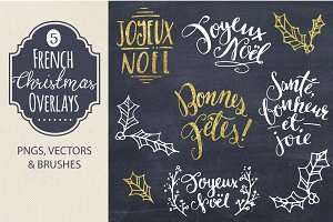 French Christmas Overlays - Vector