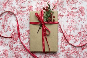 Gift box, wrapped in recycled paper
