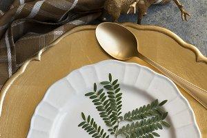Holiday Gold place setting, napkin b