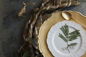 Holiday Gold place setting, napkin b