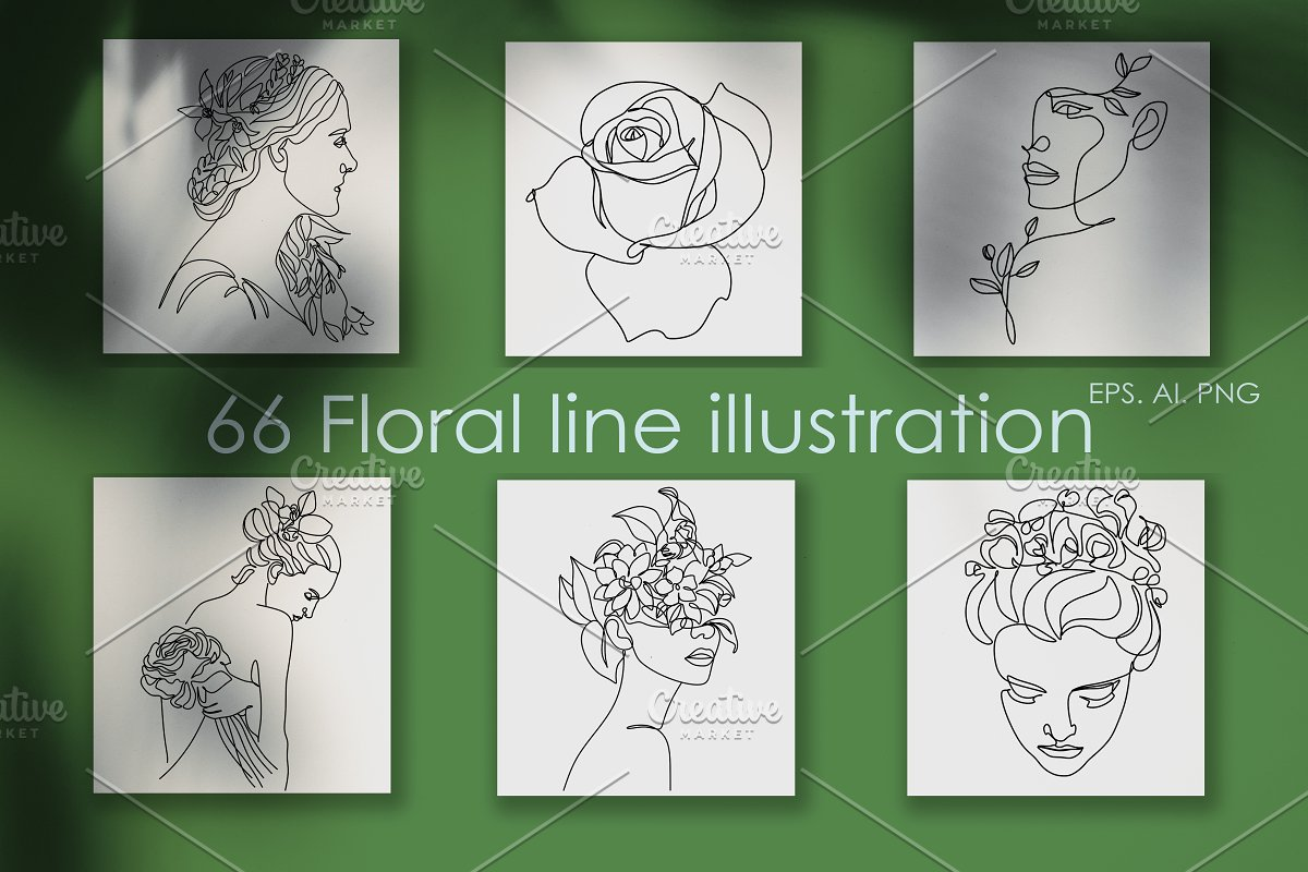 One Line Floral Drawings