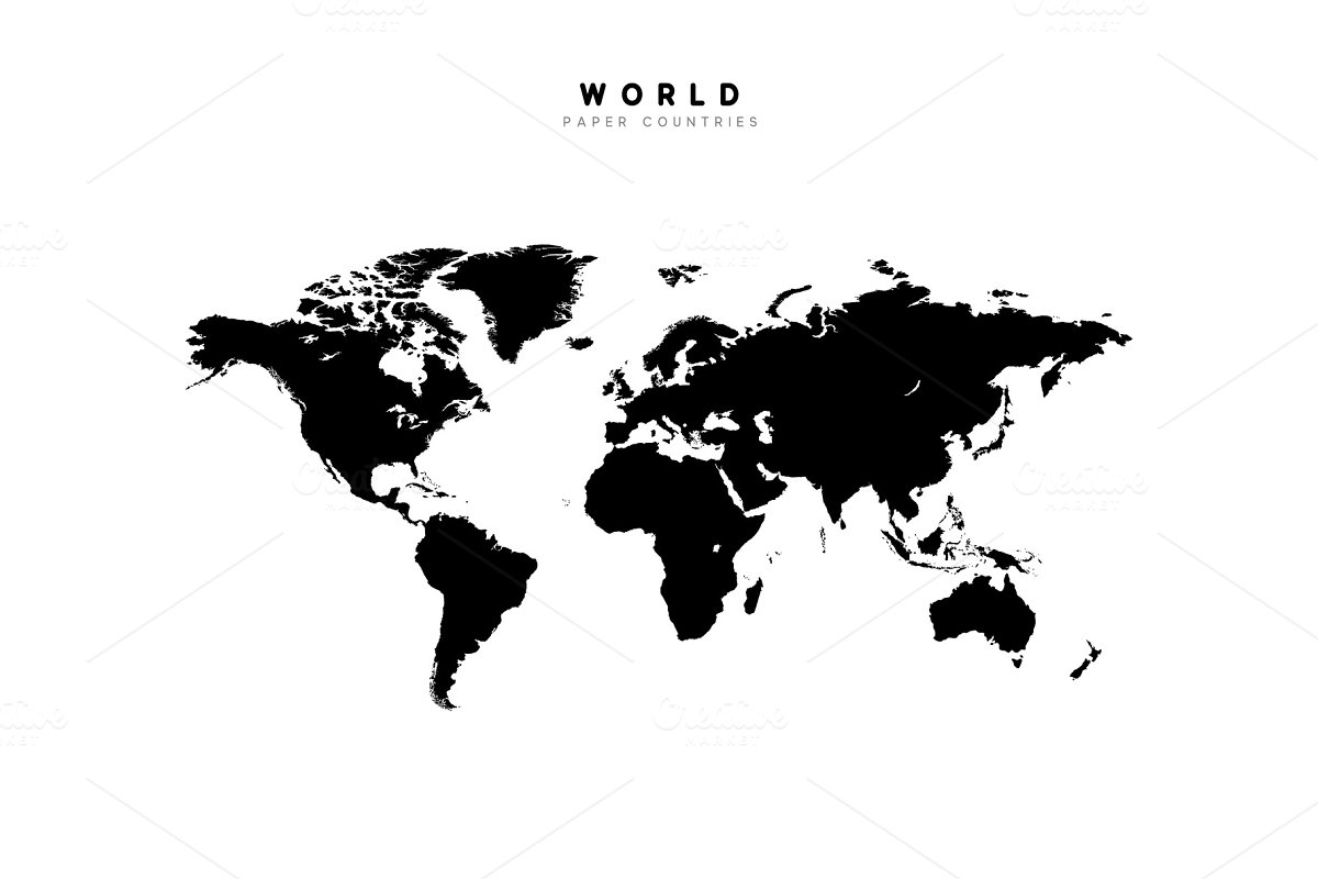 World map detailed Silhouette