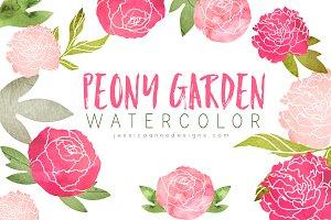 Peony Garden Watercolor Clipart