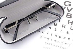 Eye glasses and eye chart