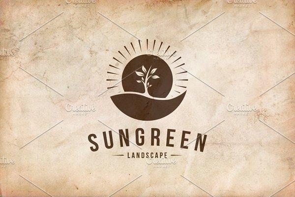 Sun Green Landscape Logo Template
