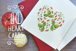 10 Romantic cards with hearts