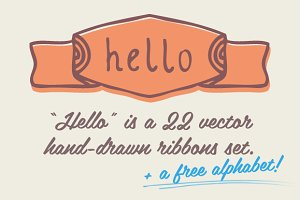 Hello | Hand drawn Ribbons &Alphabet