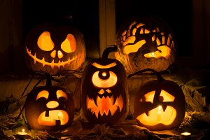 Photo composition from five pumpkins