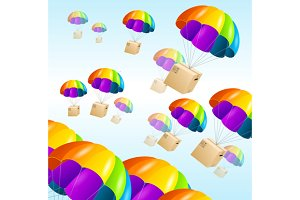 Parachute background. Air shipping.