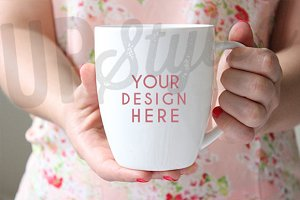 F127 White Coffee Bistro Mug Mock Up