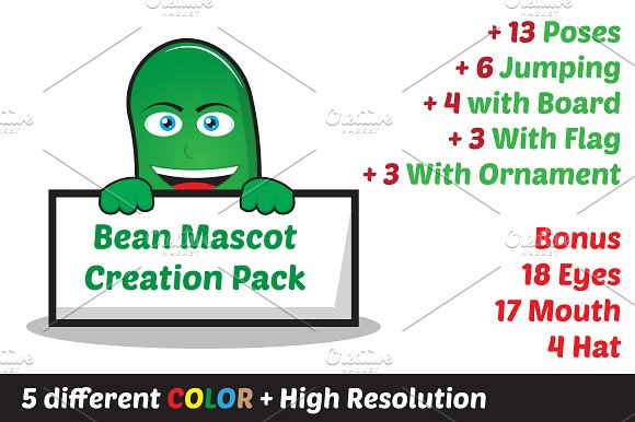 Bean, Oval Mascot Creation Pack