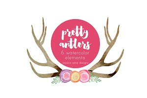 Pretty Antlers Watercolor Clipart