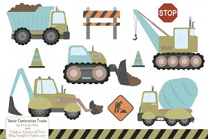 Vintage Boy Construction Trucks