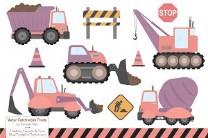 Vintage Girl Construction Trucks