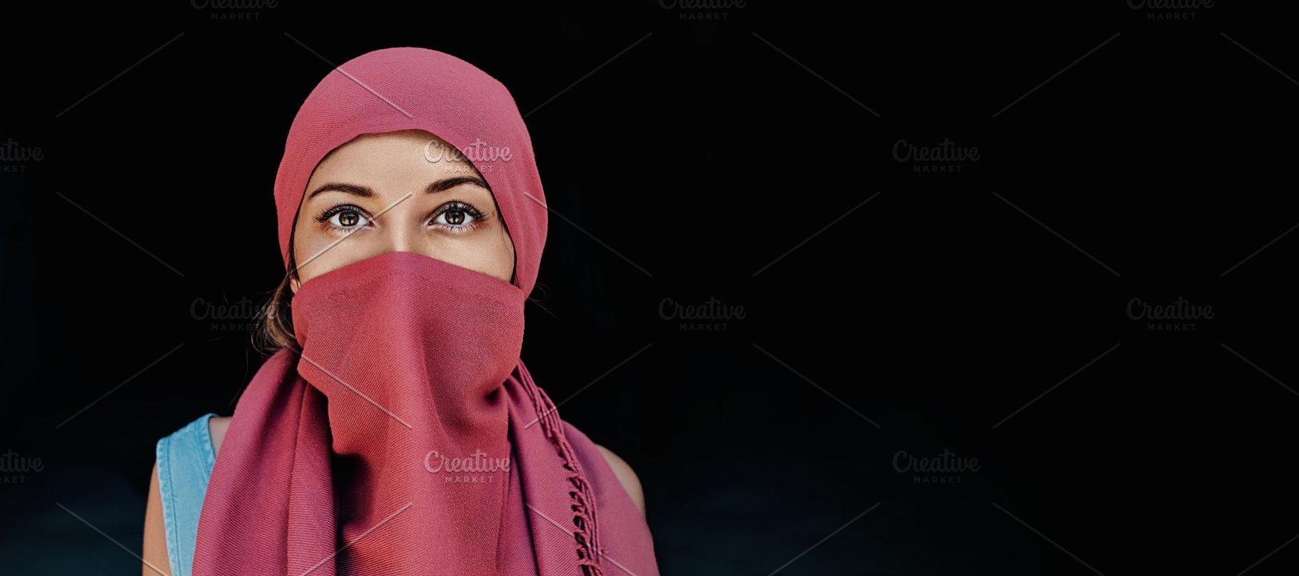 Beautiful Arabic Woman In Red Hijab High Quality Beauty