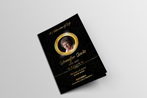 Golden Funeral Program Template