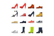 footwear flat icons