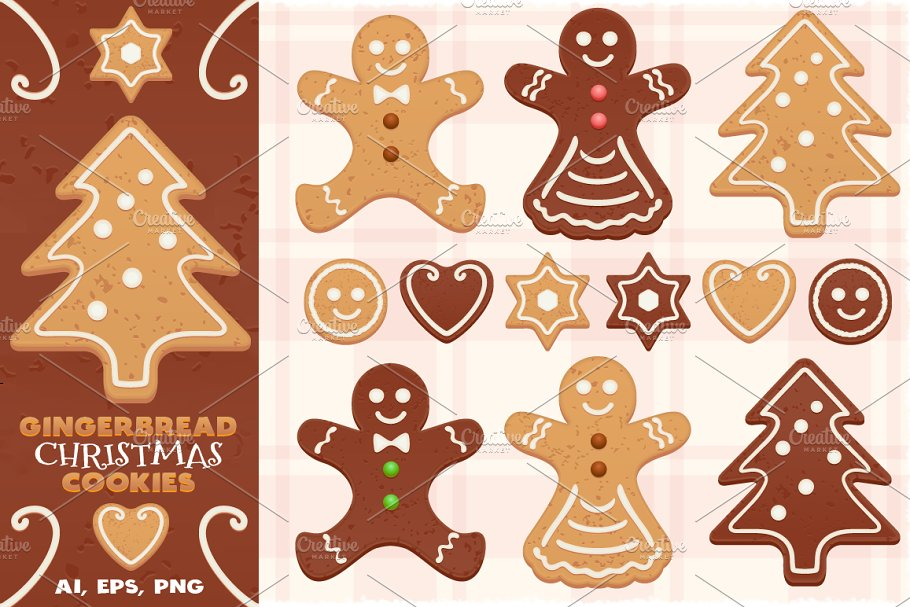 Gingerbread Vector Christmas Cookies