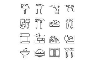 home repair tools line icons