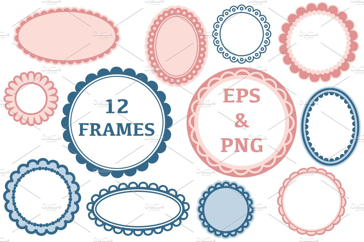 Scalloped frame clip art Photos, Graphics, Fonts, Themes, Templates ...