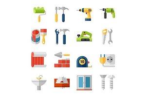 Home repair flat icons set