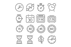 Time and clock line icons
